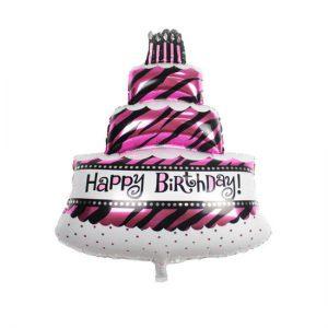 Ballon verjaardagstaart roze